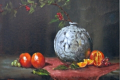 Asian Vase and oranges-001