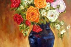 Roses on Blue Vase